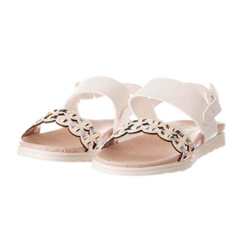 Sandale cu curea tricotată elegantă pentru fată, albe  240498
