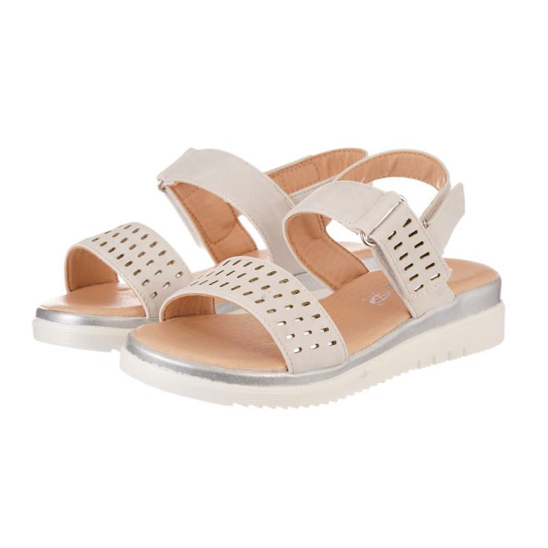 Sandale cu găuri decorative, gri  240504