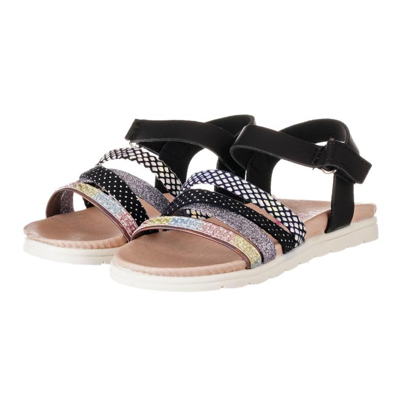 Sandale cu detalii din brocart, negre  240510