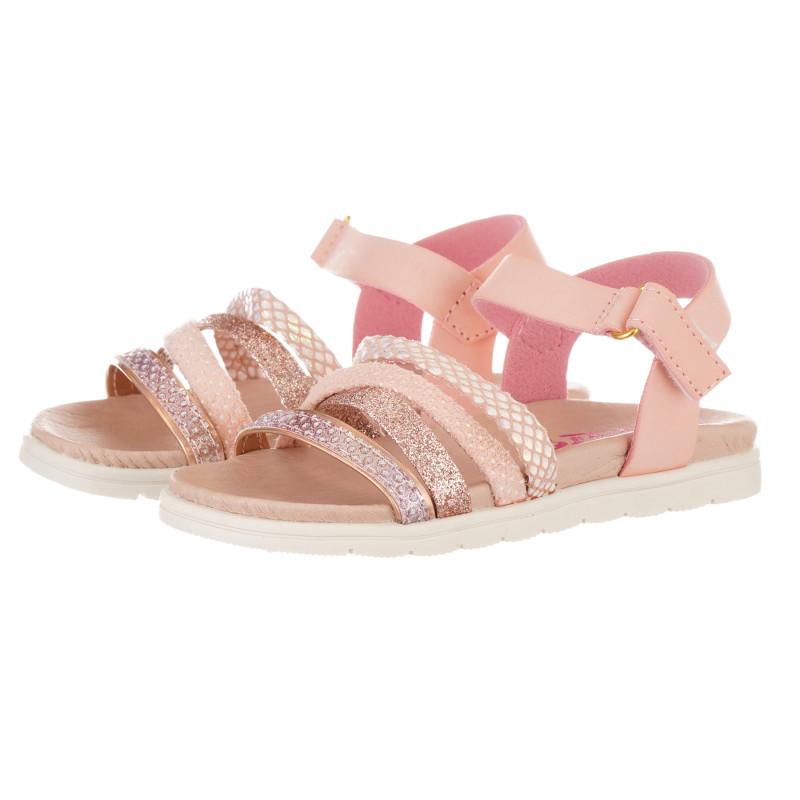 Sandale cu detalii din brocart, roz  240513