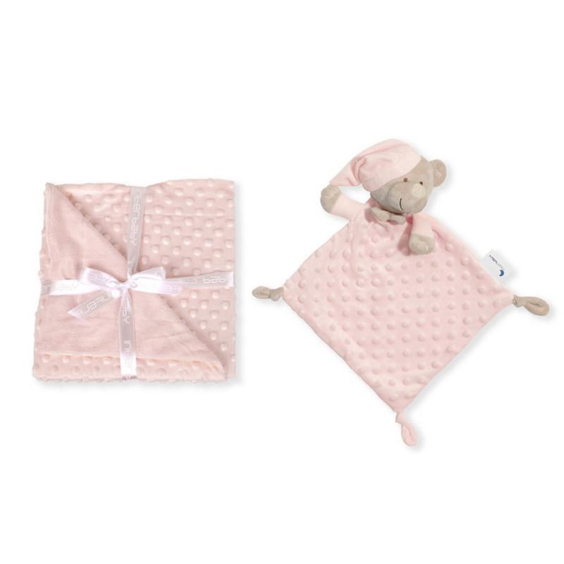 Pătură pentru bebeluși 80 x 100 cm set cu jucărie moale de alint 28 x 17 cm Ursuleț de pluș, roz  240594