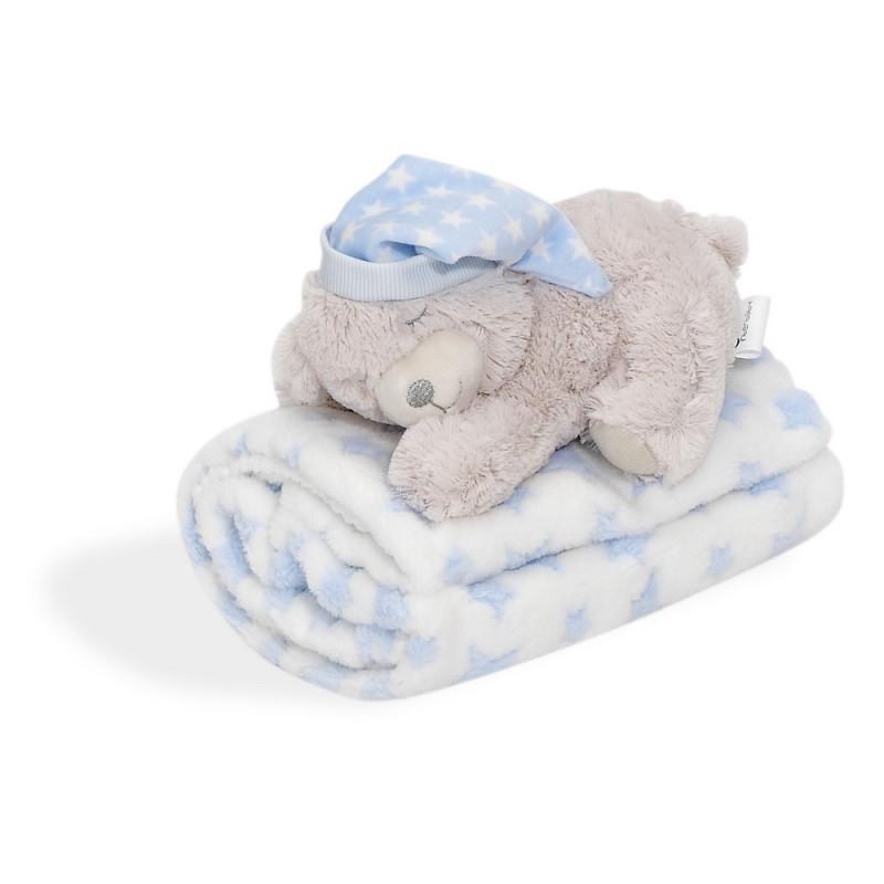 Pătură pentru bebeluși 80 x 100 cm set cu jucărie de pluș Ursuleț, albastru  240599