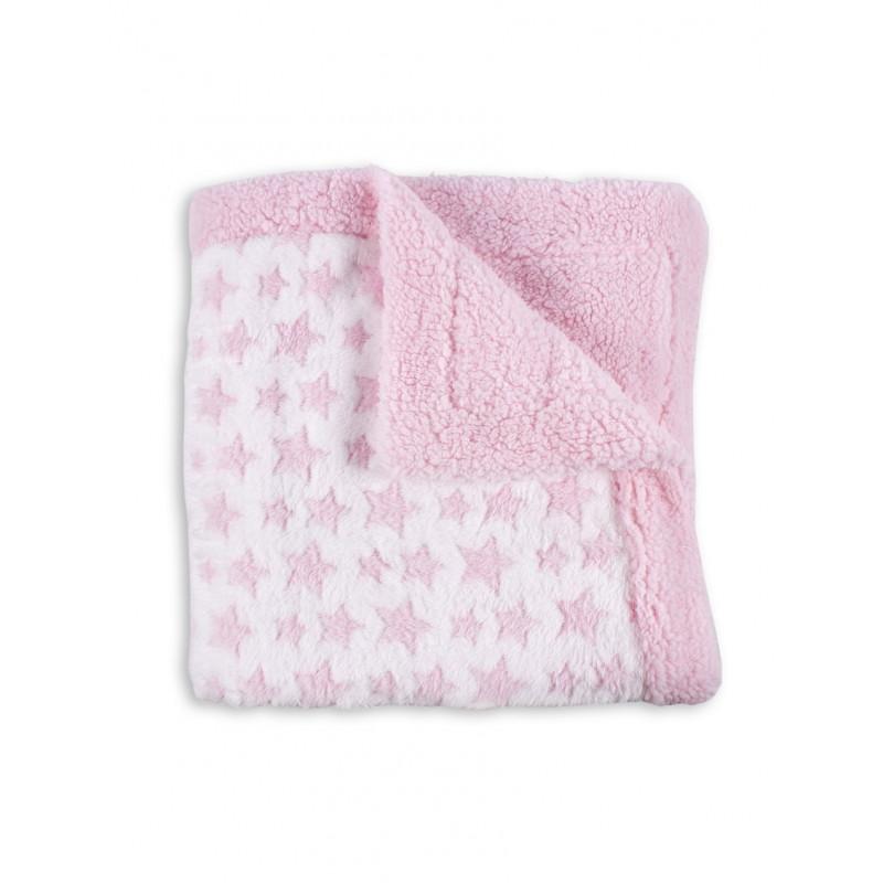 Pătură pentru copii 80 x 110 cm Stele, roz și alb  240607