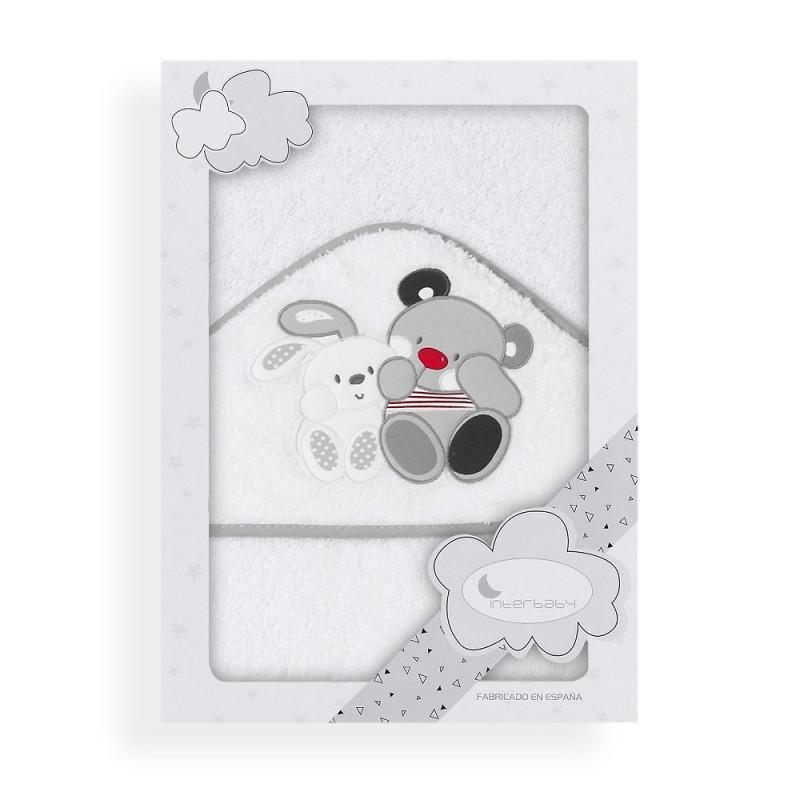 Prosop de baie pentru bebeluși AMIGOS, 100 x 100 cm, alb și gri  240639