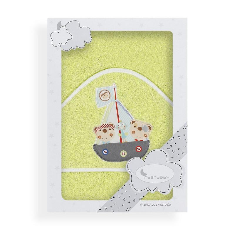 Prosop de baie pentru bebeluși OSO PIRATA, 100 x 100 cm, verde deschis  240643