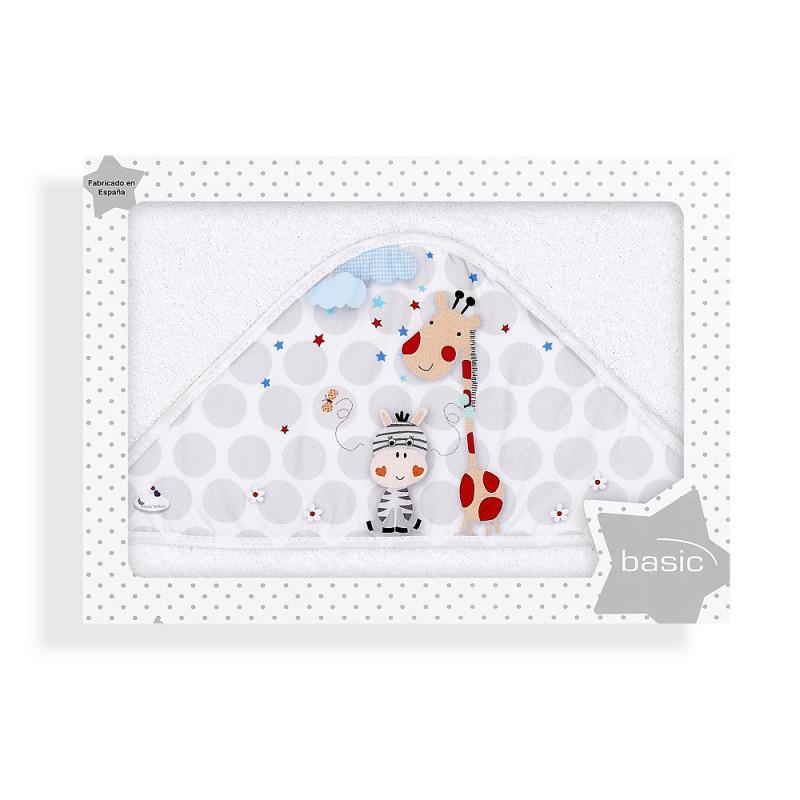 Prosop de baie pentru bebeluși JUNGLA, 100 x 100 cm, alb  240645