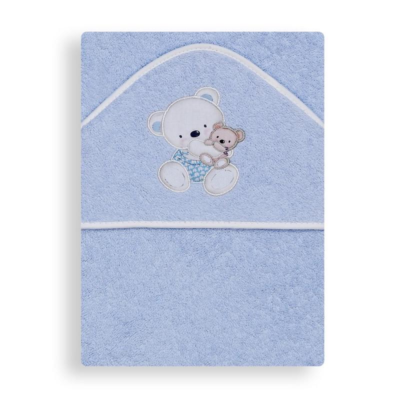 Prosop de baie pentru bebeluși OSITO COLUMPIO, 100 x 100 cm, albastru  240652