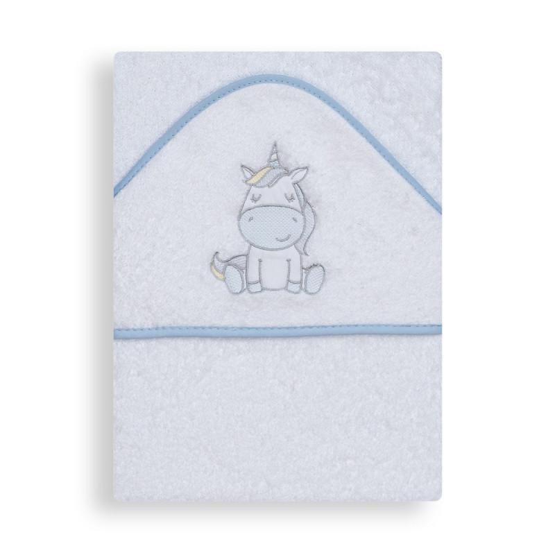 Prosop de baie pentru bebeluși UNICORNIO, 100 x 100 cm, alb și albastru  240654