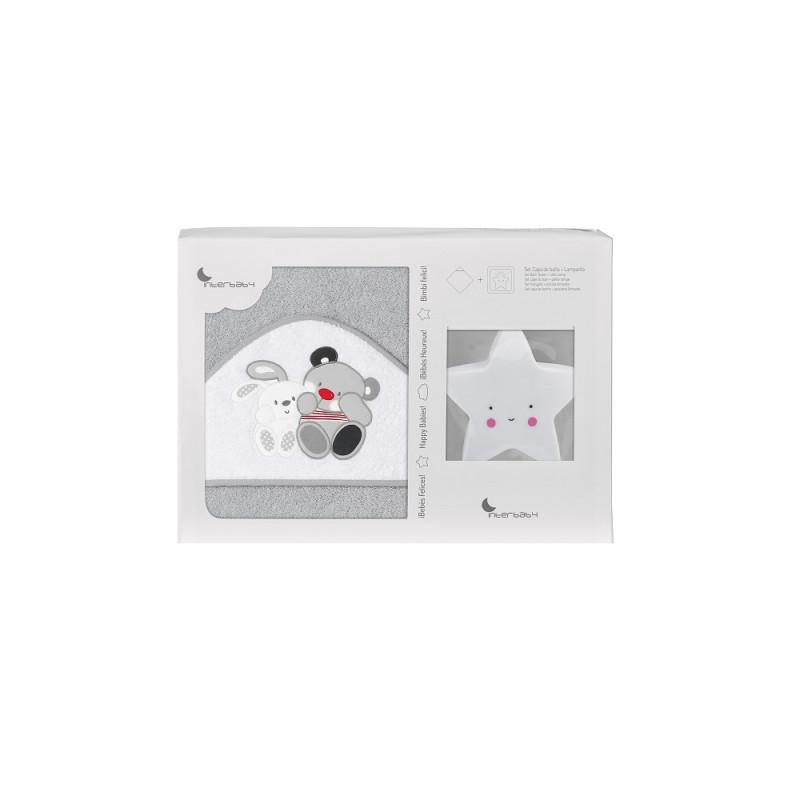 Prosop de baie pentru bebeluși AMIGOS set cu lampă Stea, 100 x 100 cm, gri  240663