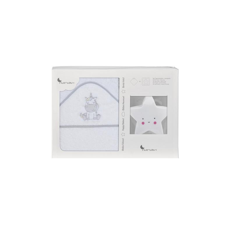 Prosop de baie pentru bebeluși UNICORNIO set cu lampă Stea, 100 x 100 cm, alb și gri  240668