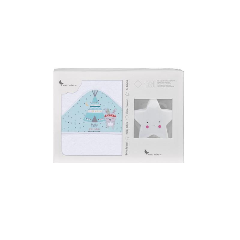 Prosop de baie pentru bebeluși TIPI OSO set cu lampă Stea, 100 x 100 cm, alb și verde  240672