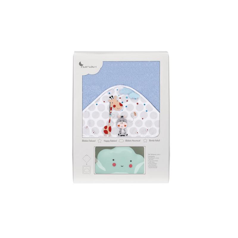 Prosop de baie pentru bebeluși JUNGLA set cu lampă Norișor, 100 x 100 cm, albastru  240685