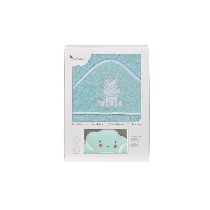 Prosop de baie pentru bebeluși UNICORNIO set cu lampă Norișor, 100 x 100 cm, verde  240689