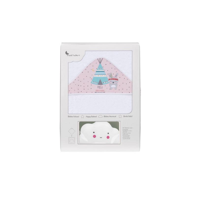 Prosop de baie pentru bebeluși TIPI OSO set cu lampă Norișor, 100 x 100 cm, alb și roz  240693