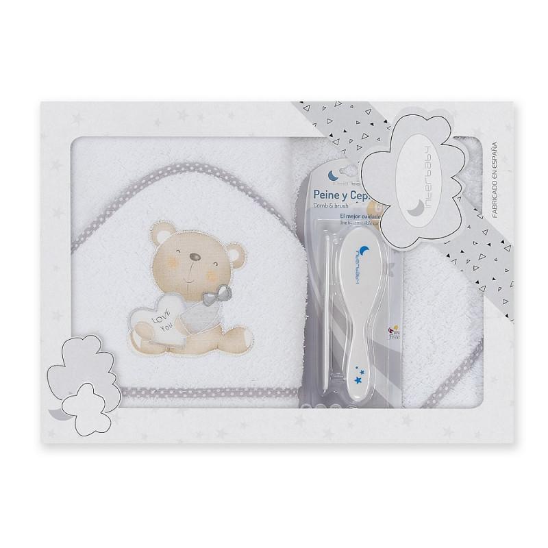 Prosop de baie pentru bebeluși LOVE YOU set cu perie de păr, 100 x 100 cm, alb și gri  240695