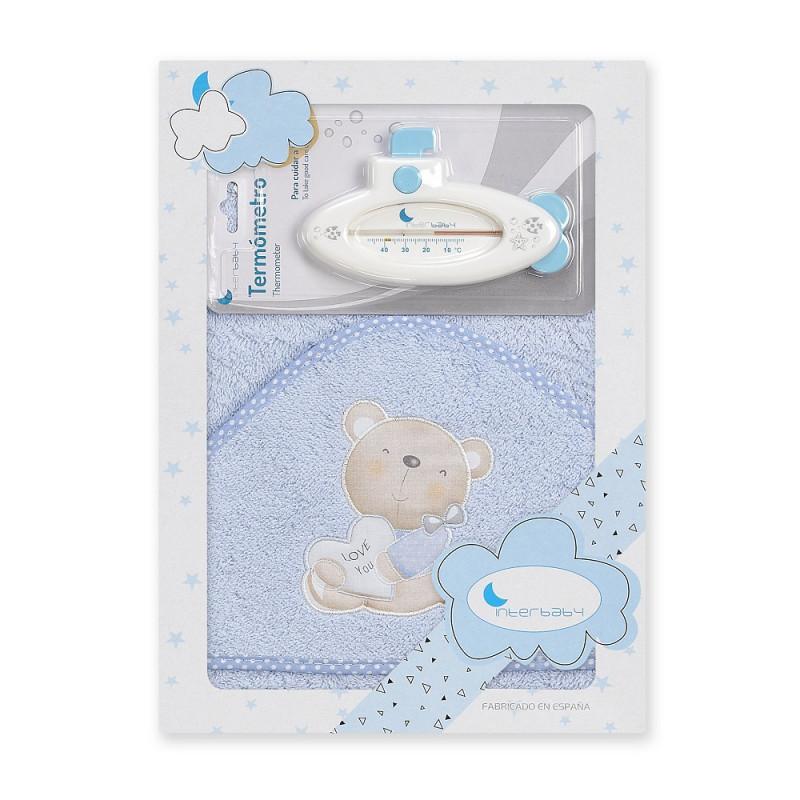 Prosop de baie pentru bebeluși LOVE YOU set cu termometru de baie, 100 x 100 cm, albastru  240696