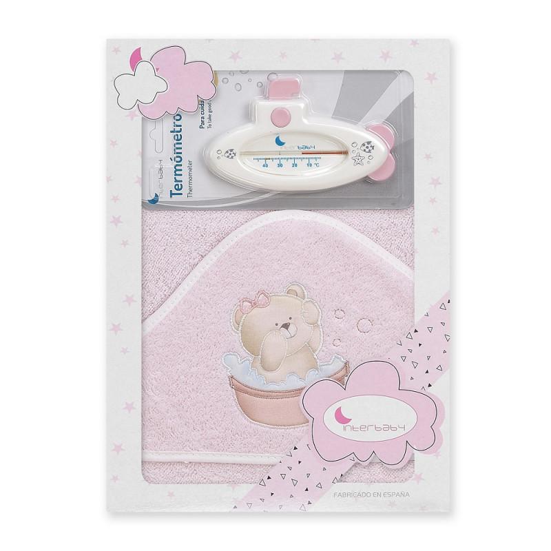 Prosop de baie pentru bebeluși OSITO BANERA set cu termometru de baie, 100 x 100 cm, roz  240697