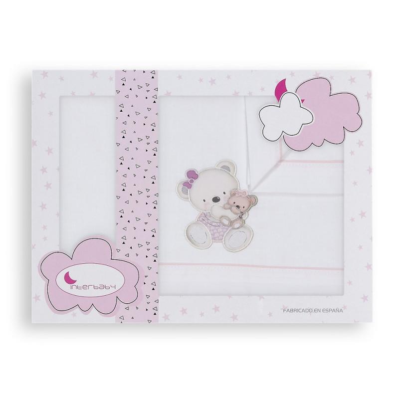 Set de pat OSITA din 3 piese pentru pat 60 x 120 cm, alb și roz  240749