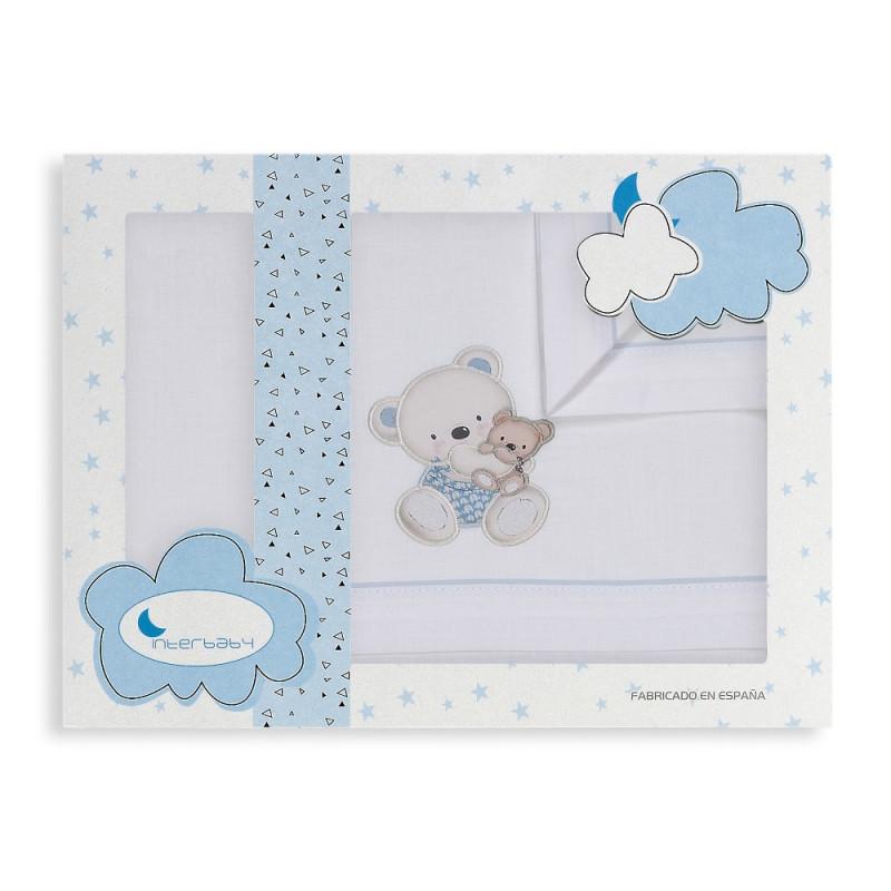 Set de pat OSITA din 3 piese pentru pat 60 x 120 cm, alb și albastru  240753