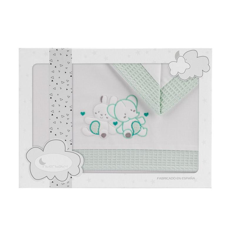 Set de pat CONEJO de 3 piese pentru pat 60 x 120 cm, alb și verde  240760