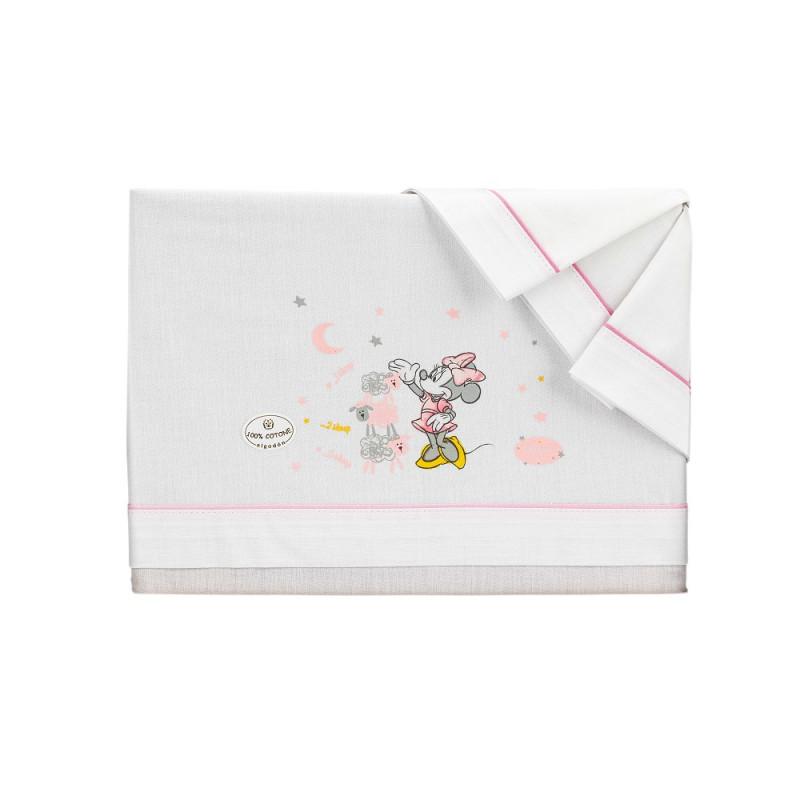 Set de pat MINNIE MOUSE din 3 piese pentru pat 60 x 120 cm, alb și roz  240771