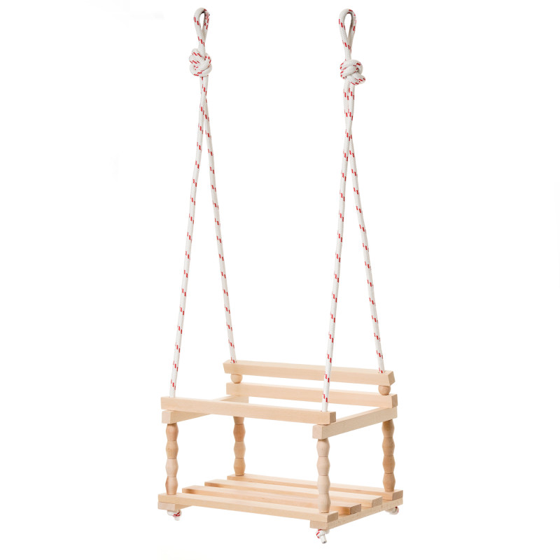 Balansoar clasic din lemn pentru copii, 39 x 27 x 30 cm, lemn natural  241777
