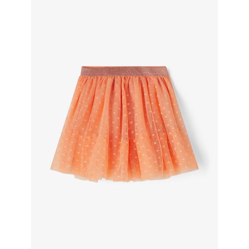 Fusta din tul cu imprimeu abstract, portocaliu  242355