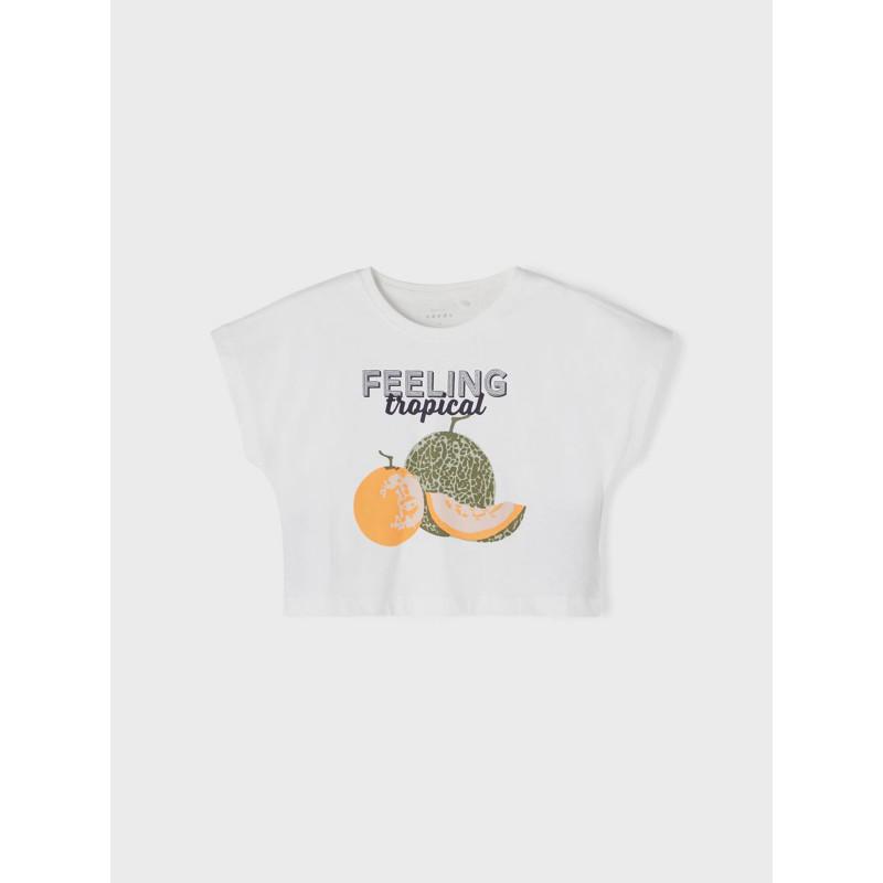 Tricou din bumbac organic cu imprimeu, alb  242372