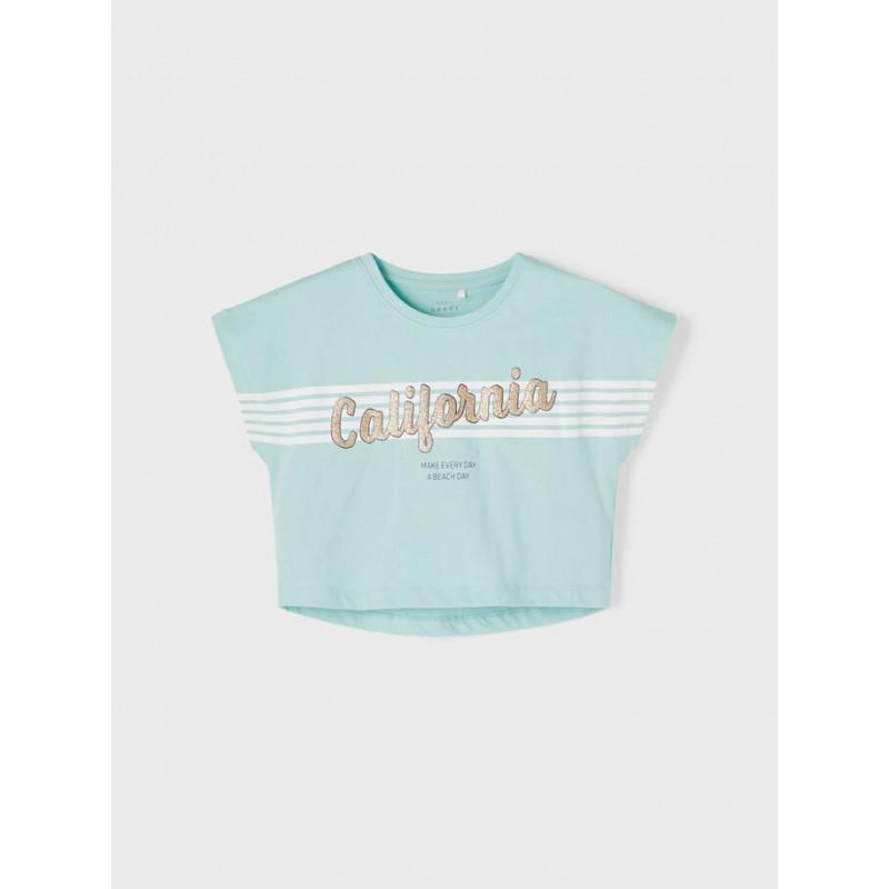 Tricou din bumbac organic cu inscripție, albastru deschis  242375
