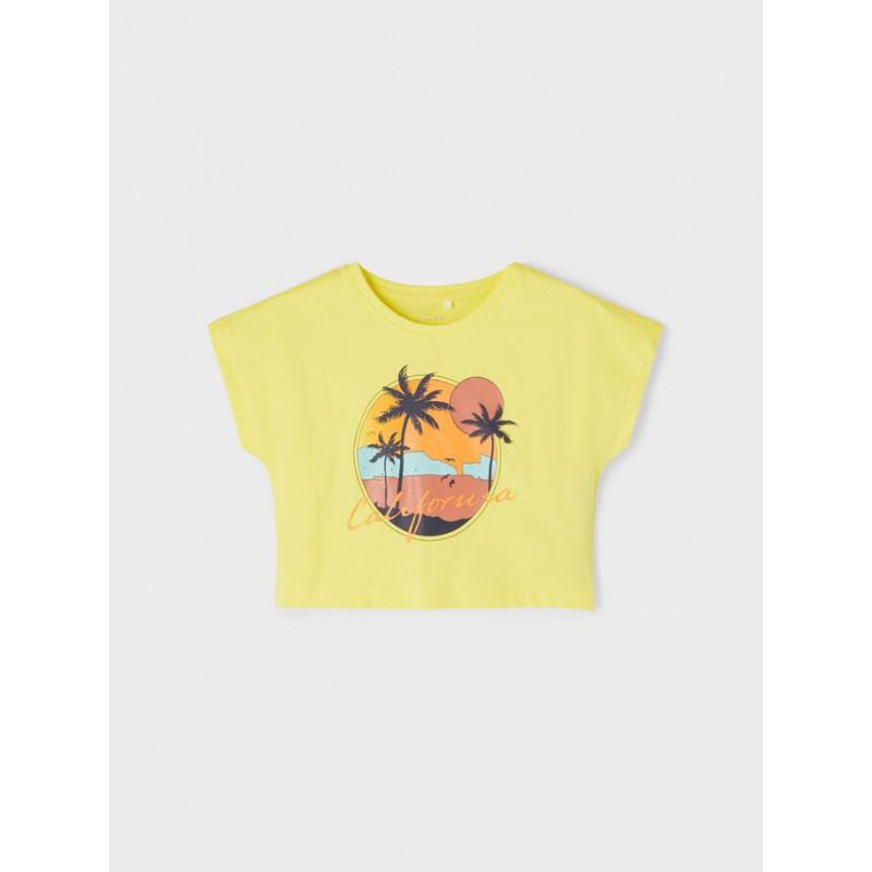 Tricou din bumbac organic cu imprimeu, galben  242378