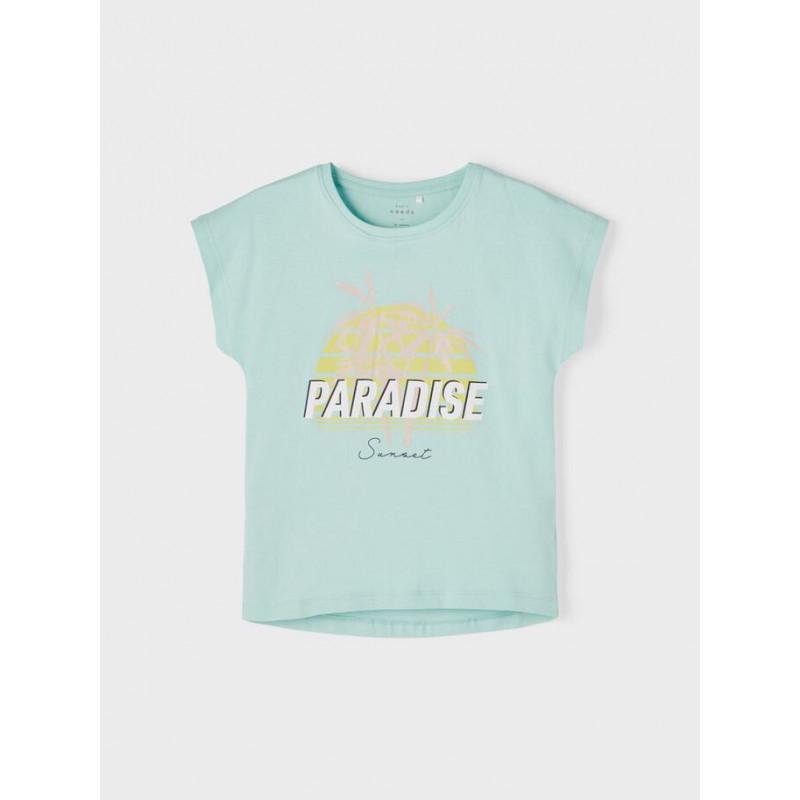 Tricou din bumbac organic cu imprimeu Paradise, albastru deschis  242381