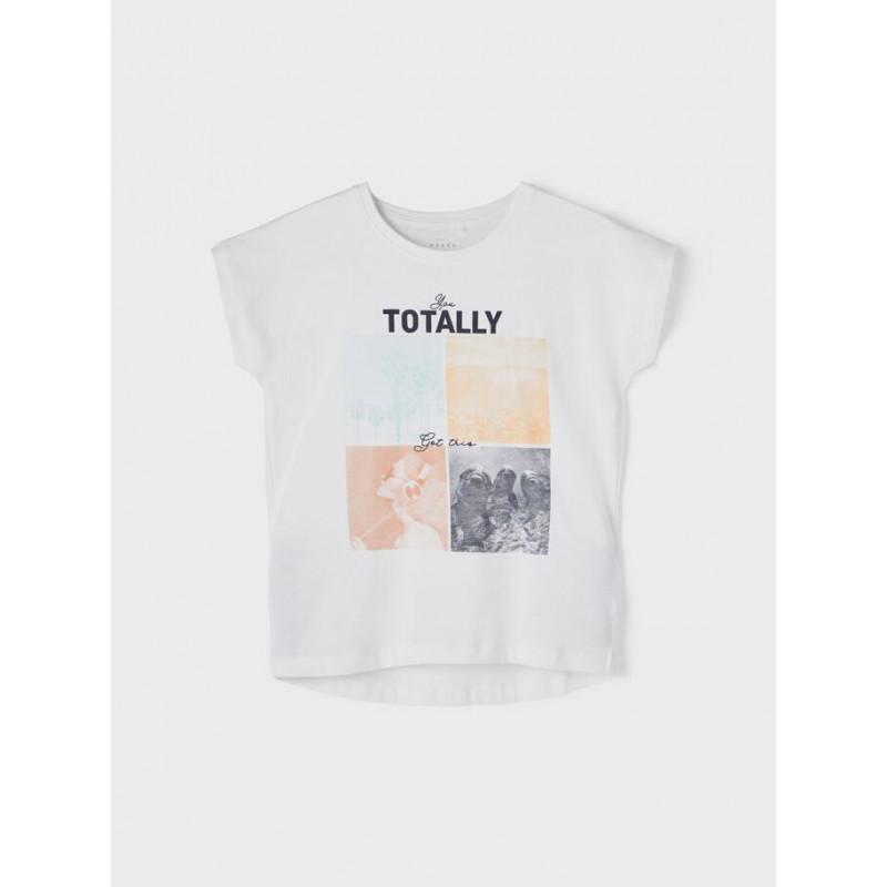 Tricou din bumbac organic cu imprimeu, în alb  242384