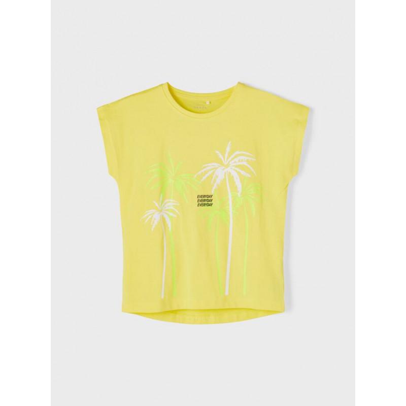 Tricou din bumbac organic cu imprimeu palmier, galben  242390
