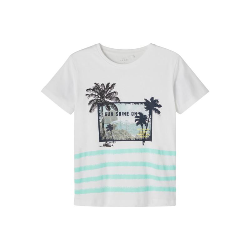 Tricou din bumbac organic cu imprimeu palmier, alb  242393