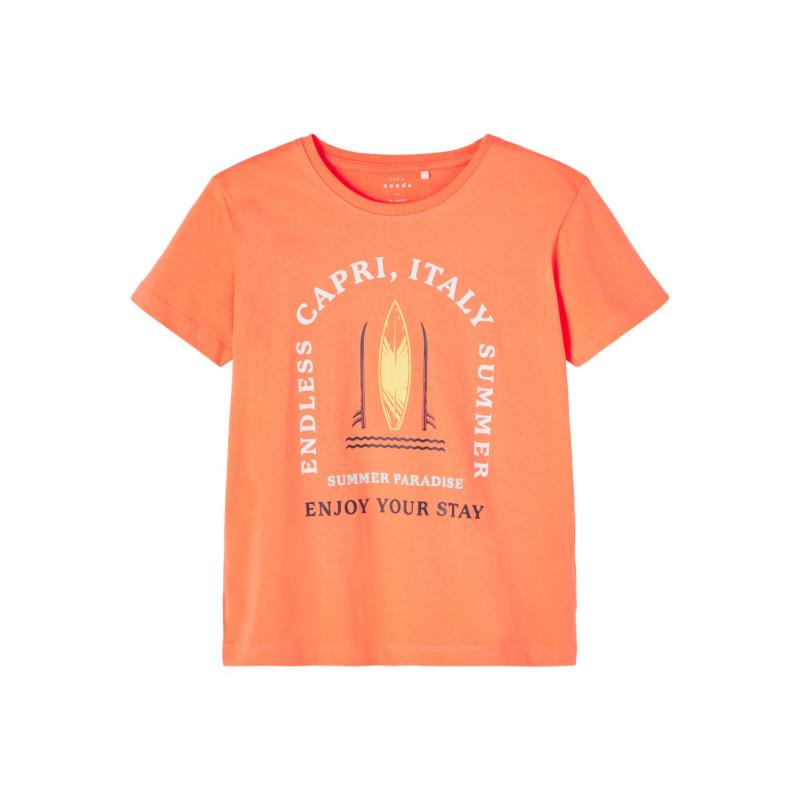 Tricou din bumbac organic cu imprimeu surf, portocaliu  242396