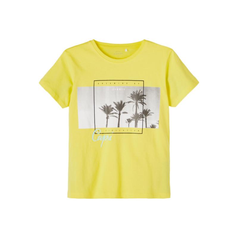 Tricou din bumbac organic cu imprimeu palmier, în galben  242399