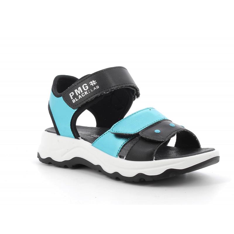 Sandale cu detalii albastre, pe negru  242435