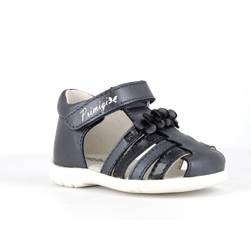 Sandale din piele cu aplicație florală, negre  242441