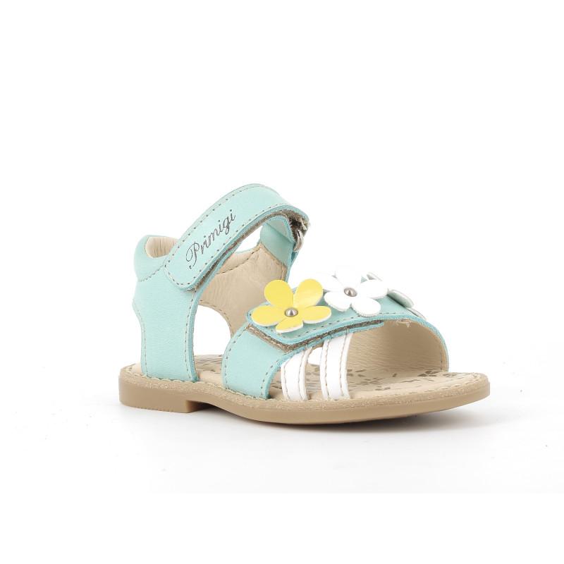 Sandale din piele cu aplicație florală, albastru  242444