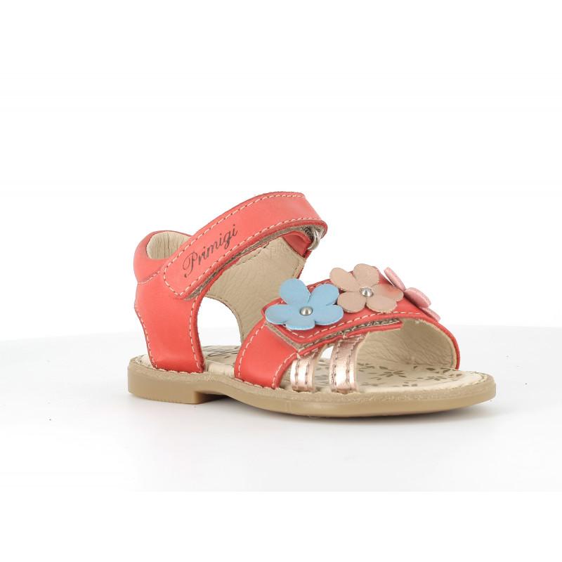 Sandale din piele cu aplicație florală, roșie  242447