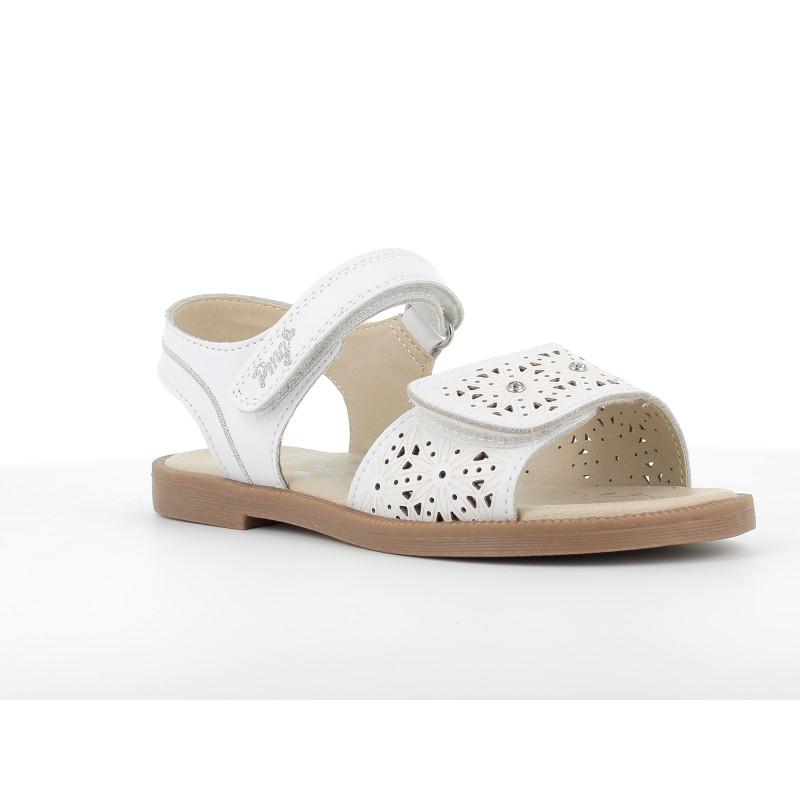 Sandale din piele artificială cu imprimeu floral, alb  242450