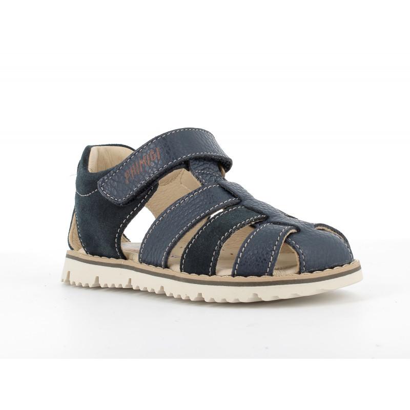 Sandale din piele naturală și piele întoarsă, albastru închis  242456