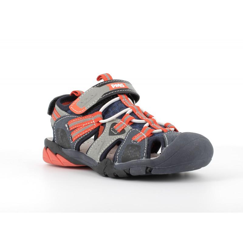 Sandale cu detalii portocalii, albastru închis  242486