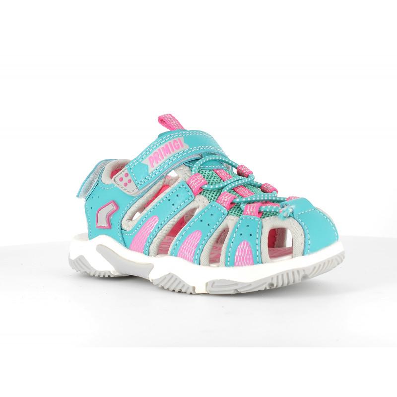 Sandale cu detalii roz, albastru deschis  242489