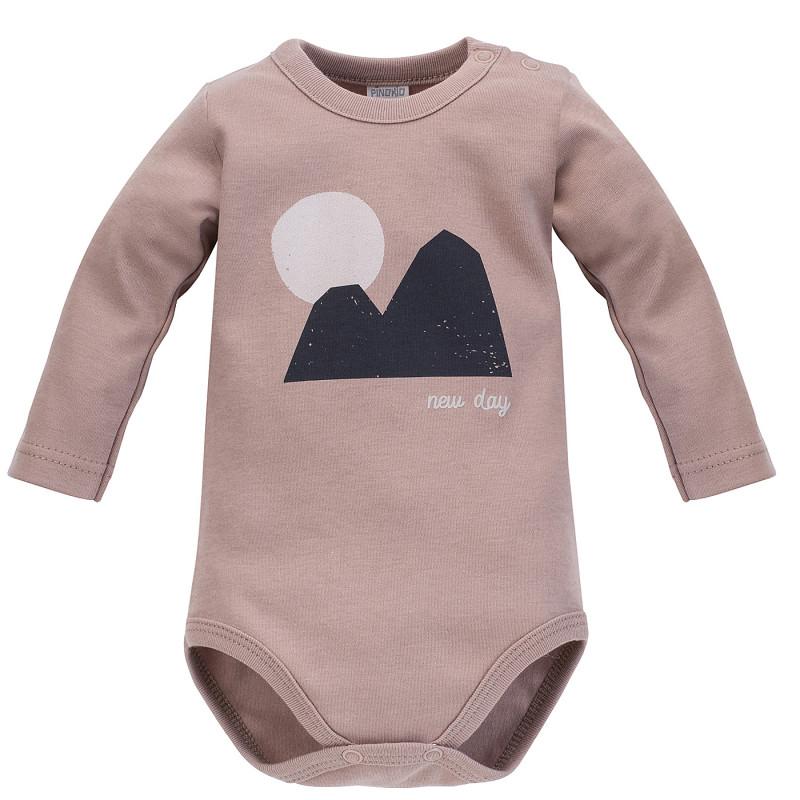 Body din bumbac cu mâneci lungi și imprimeu pentru bebeluș, maro deschis  242510