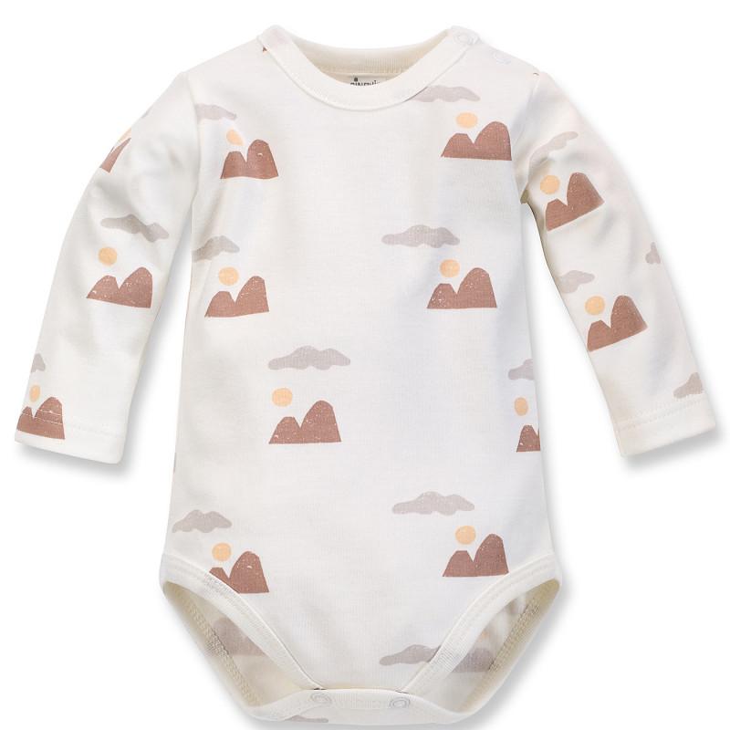 Body din bumbac cu mâneci lungi și imprimeu pentru bebeluș, culoare albă  242511