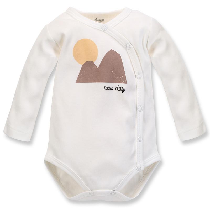 Body din bumbac cu mâneci lungi și imprimeu pentru bebeluș, alb  242515
