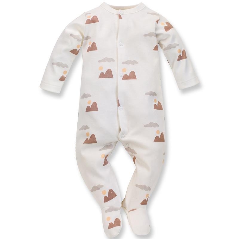 Salopetă din bumbac cu imprimeu grafic pentru bebeluș, de culoare albă  242533