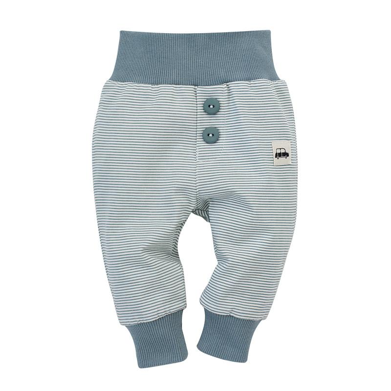 Pantaloni pentru bebeluși din bumbac în dungi albe și albastre  242742
