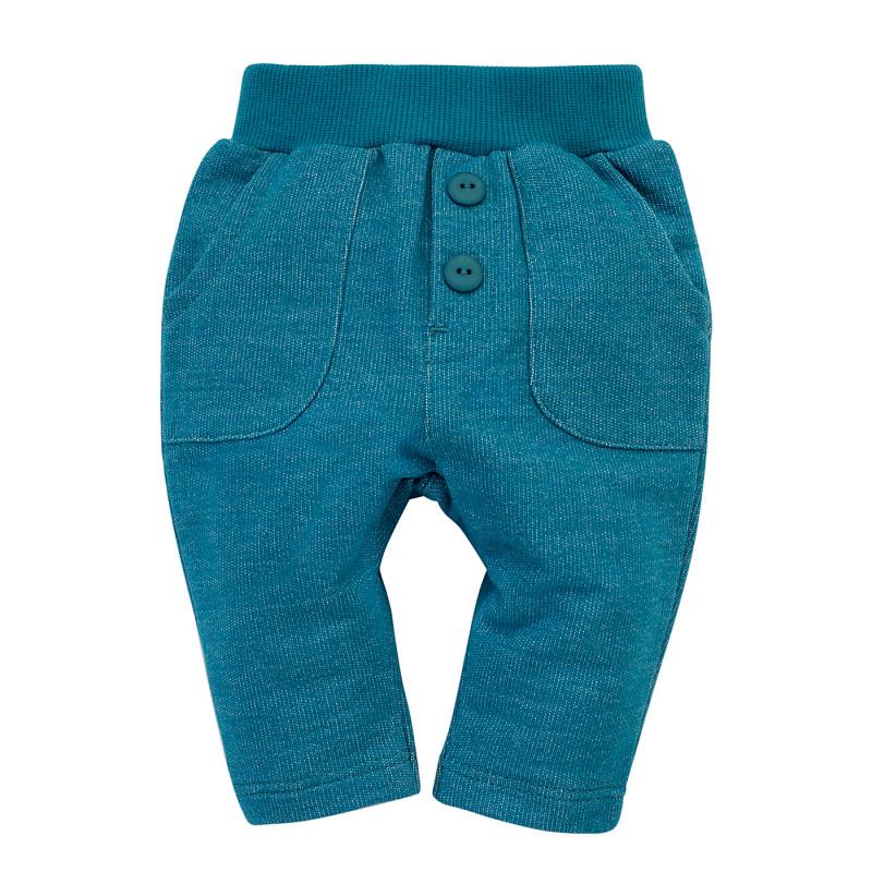 Pantaloni pentru bebeluși din bumbac, albaștri  242743